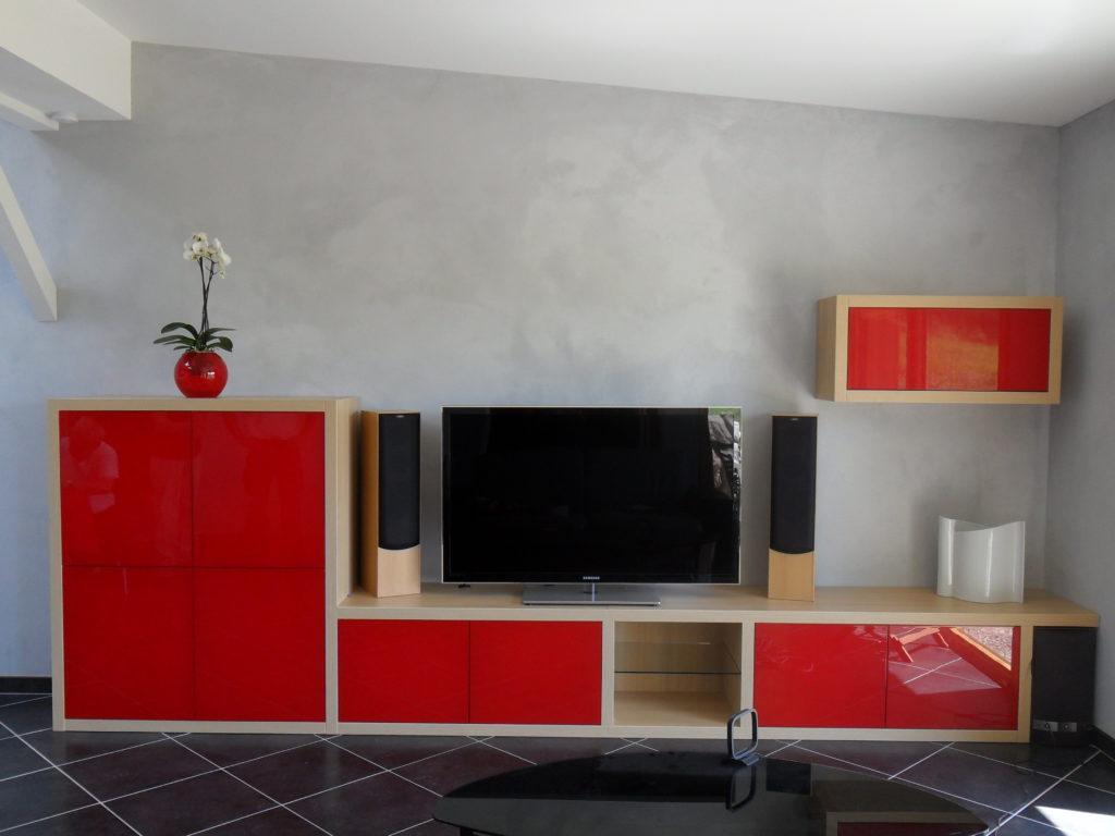 Meuble télévision vernis rouge