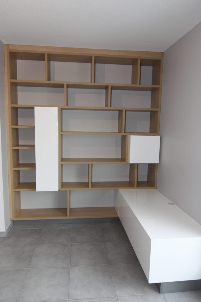 Création grande bibliothèque en bois