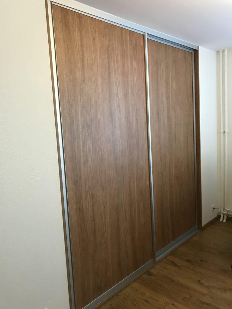 Double portes coulissantes bois