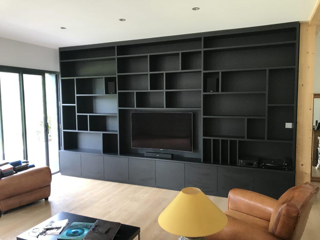 Grand meuble télé noir